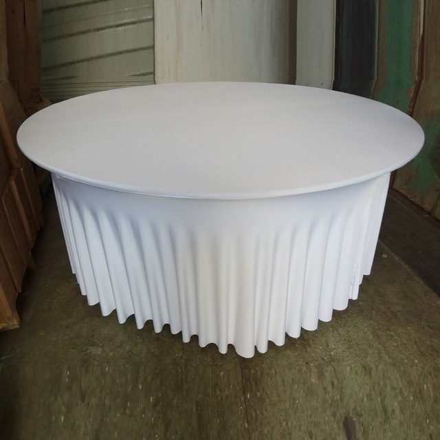 5PCS/Lot New Style Round Spandex Table Cover 72inch White Table Cover With  Skirt For