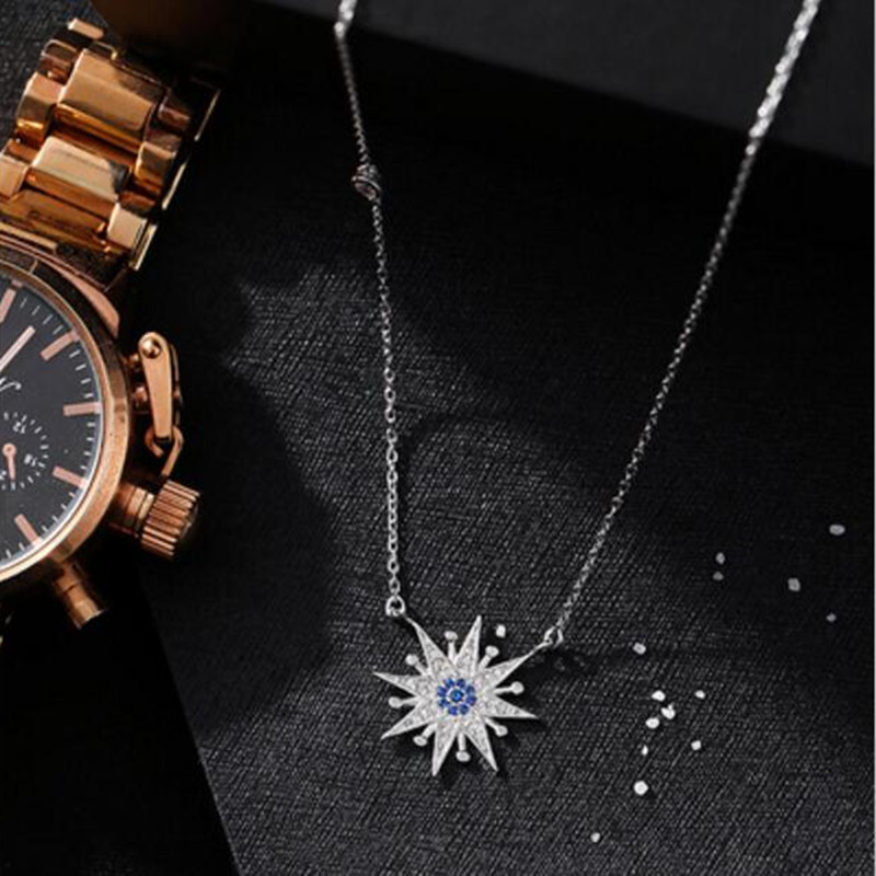 Temperament Beautiful 925 Sterling Silver Jewelry Korean Fashion Female Sun Flower Zircon Pendant Necklace   H270