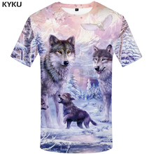 KYKU Brand Wolf Shirt Snow Clothing Jungle T-shirt Funny T shirts 3d Print shirt Men 2018 Summer  Fashion New