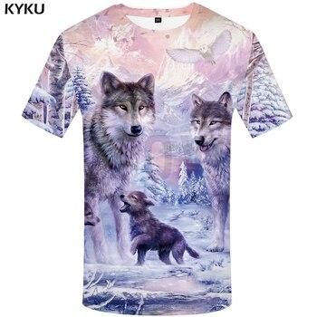 KYKU Brand Wolf Shirt Snow Clothing Jungle T-shirt Funny T shirts 3d Print shirt Men 2018 Summer  Fashion New