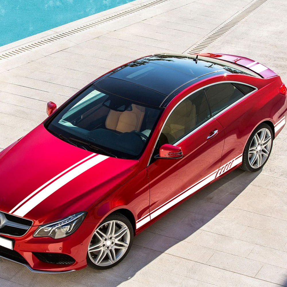 Car Hood Roof Kit Side Stripe Decal Sticker for <font><b>Mercedes</b></font> <font><b>Benz</b></font> E Class W212 E200 E300 <font><b>W213</b></font> C238 C207 A207 E43 E63 AMG <font><b>Accessories</b></font> image