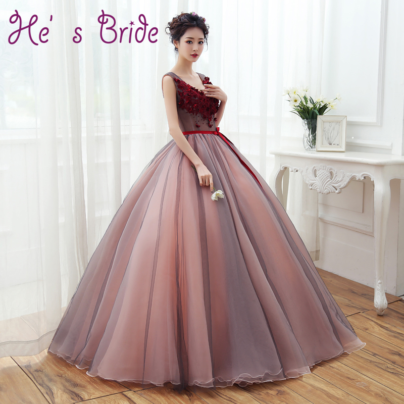 Prom Dress Deep V Neck Sleeveless Puffy Long Party Dresses With Appliques Flowers Bride Banquet Plus Size Elegant
