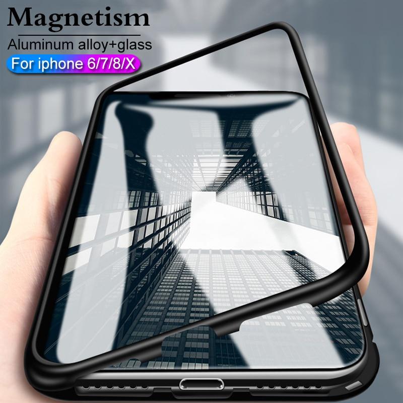 Pour iphone X verre cas pour iphone 7 8 Plus X cas De Luxe antichoc magnétique Couverture de butoir De Pour iphone cas 7 6 8 transparent 360