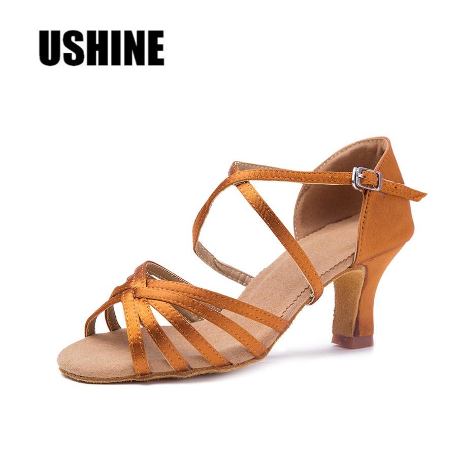 USHINE WZJ Heel 7cm Hot Selling Brown Satin Zapatos De Baile Latino De Las Mujeres Latin Dance Shoes Women USHINE WZJ Heel 7cm Hot Selling Brown Satin Zapatos De Baile Latino De Las Mujeres Latin Dance Shoes Women