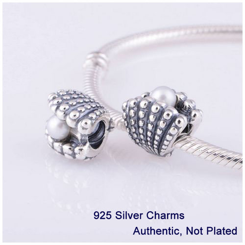 Beads DIY Fits Pandora Bracelets Authentic 925 Sterling Silver Jewelry Shell with White Pearl Gift Charms L322