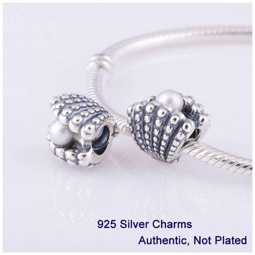 Beads DIY Serve Para Pulseiras Pandora Authentic 925 Sterling Silver Jóias com Shell Branco Pérola Dom Encantos L322