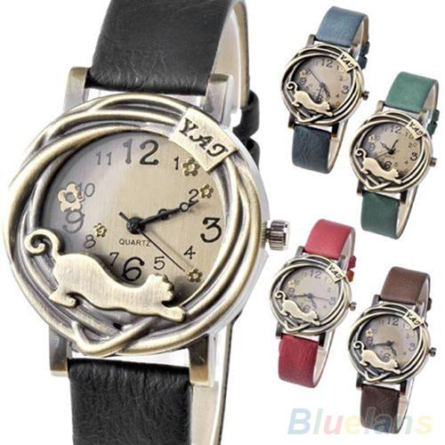 Vintage Womens Bronze Case Cat & Flower Quartz Analog Wrist Watch  93U5