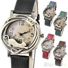 Vintage Womens Bronze Case Cat & Flower Quartz Analog Wrist Watch