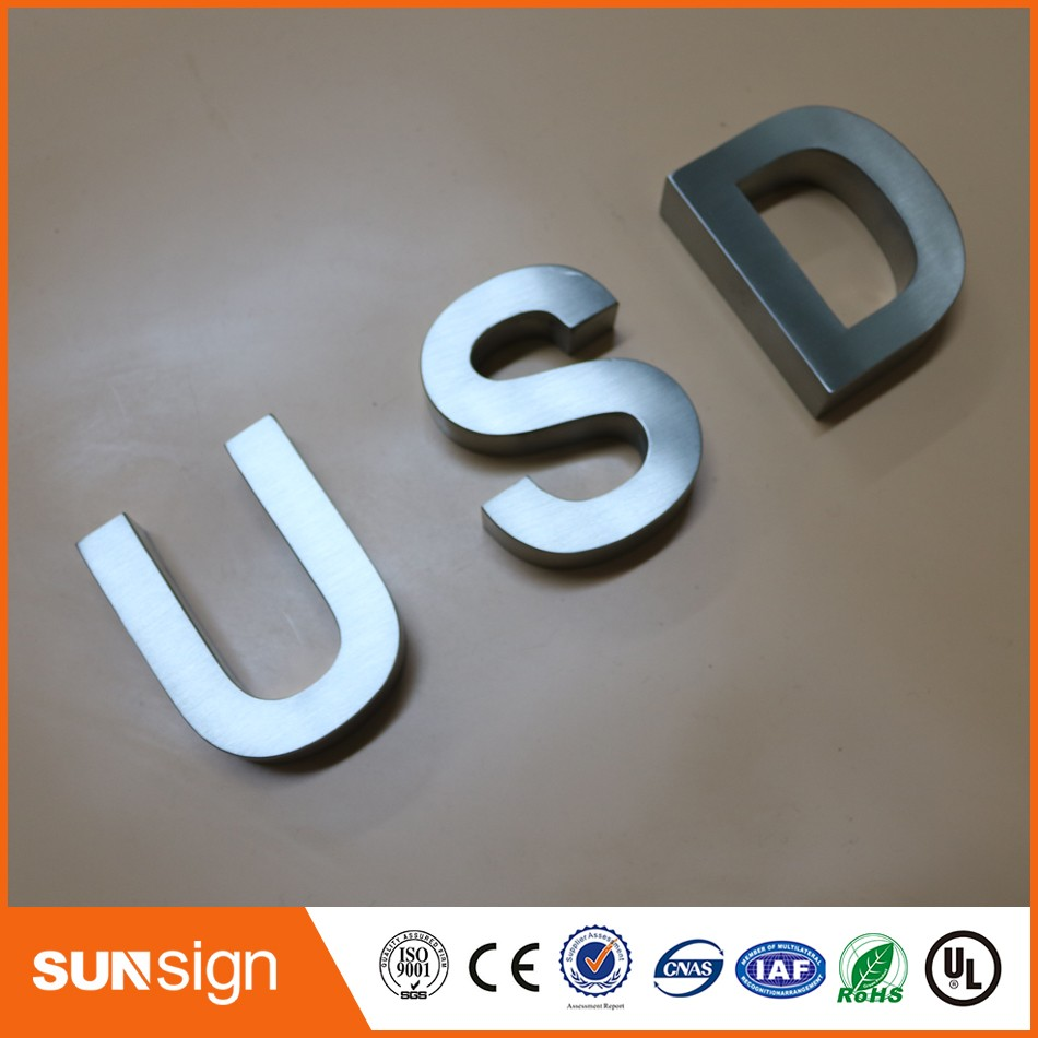 Custom 3d Stainless Steel Sign Letter Brushed Metal Letters Shop Sign
