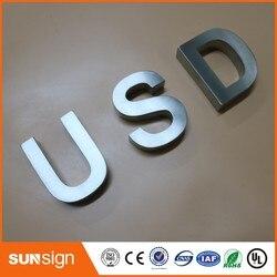 Letrero de acero inoxidable 3d personalizado con letras de metal cepillado