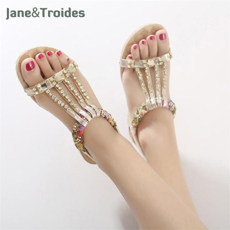 2018 Shoes Woman Sandals Women Rhinestones Chains Flat Sandals Plus Size Thong Flat Sandals Gladiator Sandals Chaussure Femme glglgege 2018 woman sandals women shoes rhinestones summer flat sandals with flowers ladies flat shoes chaussure tenis feminino