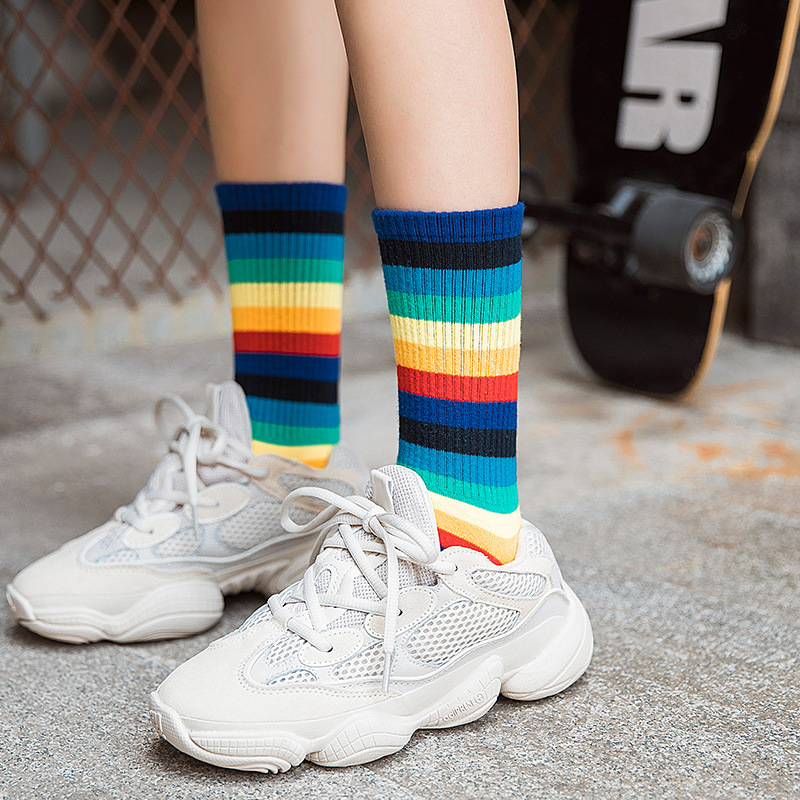New Women Socks 1 Pair Long Cotton Rainbow Color Striped Printed Novelty Fashion Lady Autumn Socks