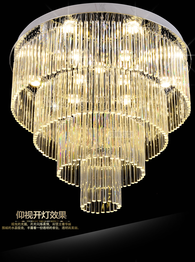Led Lamp Modern Chandelier Lights Fixture K9 Crystal Chandelier Multi Circles Round Crystal Hanging Lamps Home Indoor Lighting