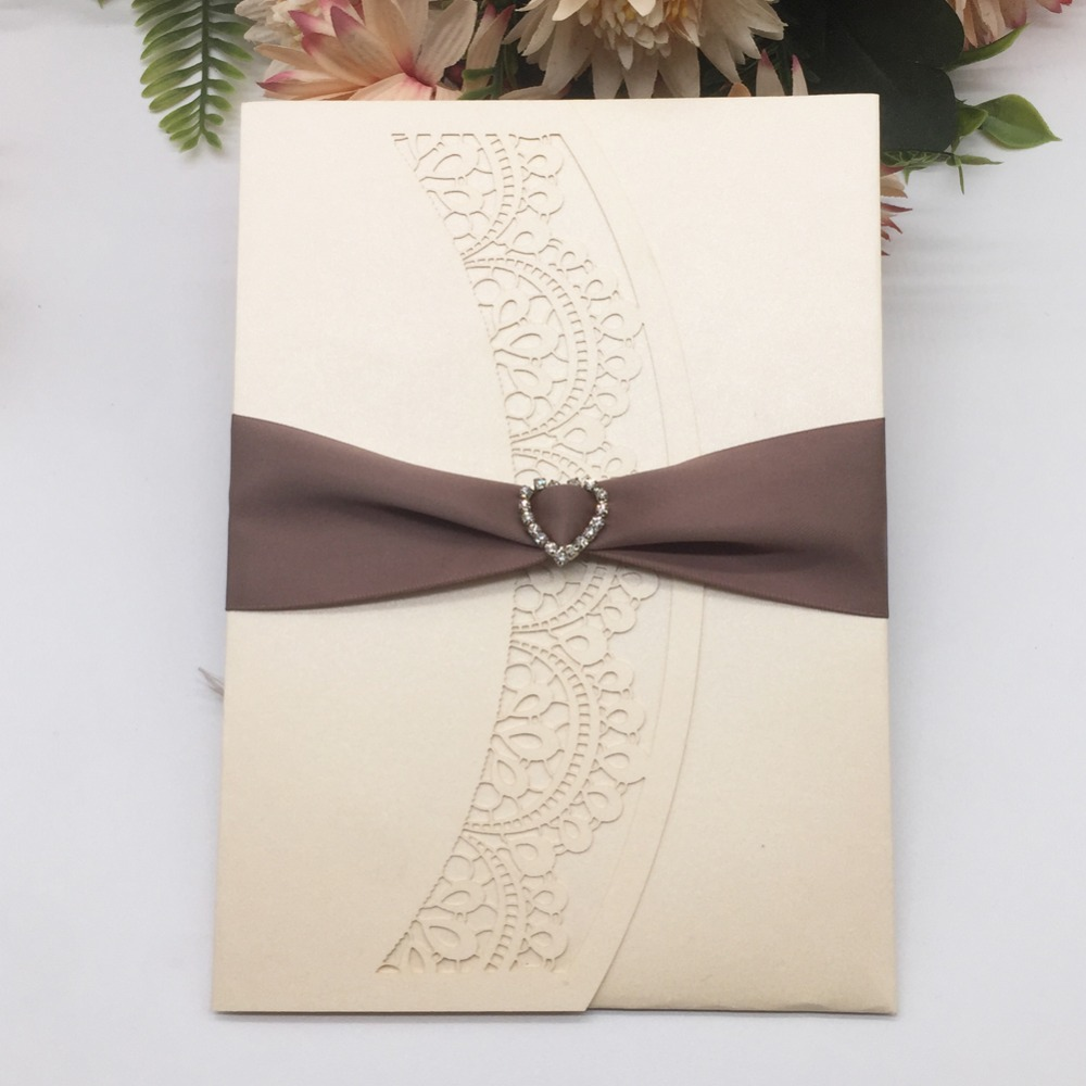 Us 56 7 46 Off 50pcs Elegant Laser Cut Lace Design Wedding Invitation With Ribbon Luxury Pearl Paper Birthday Gift Card Dinner Invite Rsvp Card In