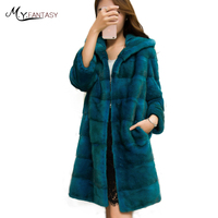 M Y FANSTY Imported Women Velvet Mink Coats With Hat Fur Hood Wave Cut Pure Color