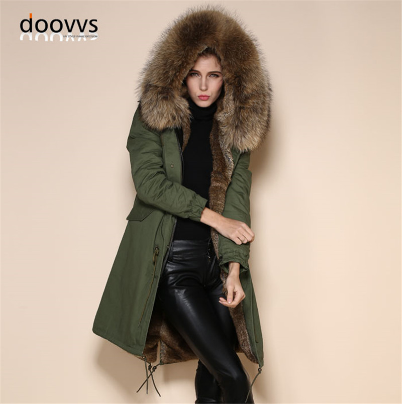 Army green parka with rabbit full fur lining