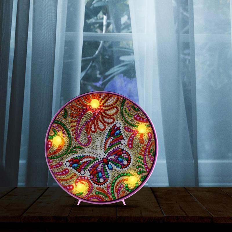 5D DIY Full Drill Diamond Painting Lamp Rhinestone Embroidery Butterfly Animal LED Light Novelty Lighting Home Decor