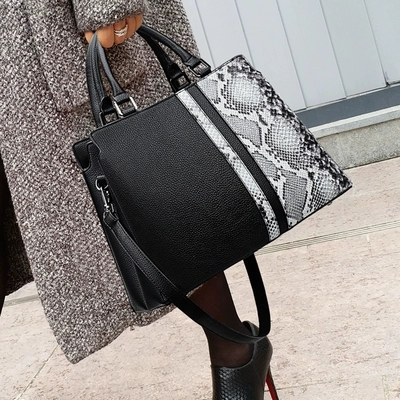 Female Large Capasity Leather Bags Fashion Snake Pattern Tote Bag Top Quality Handbags Big Size Casual