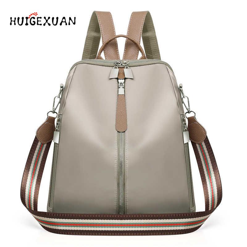 cee9eb607ae2 Women Double Zipper Backpacks Multifunction Oxford Cloth School Bag  Backpacks For Girls Female Vintage Backpack Shoulder