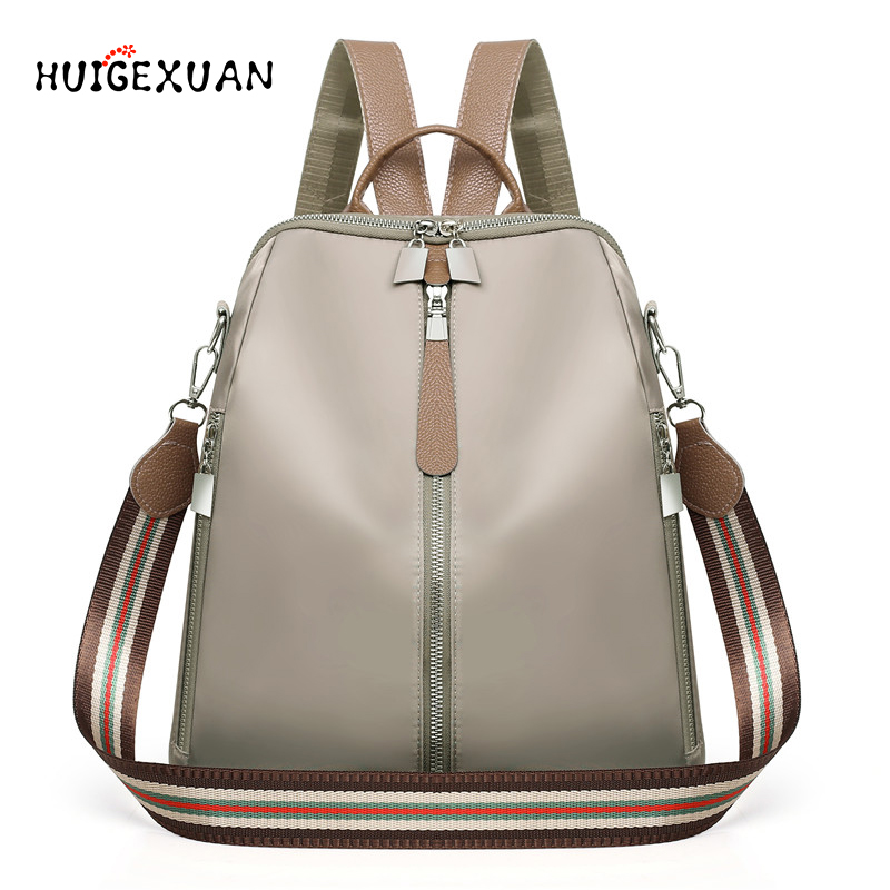 Women Double Zipper Backpacks Multifunction Oxford Cloth School Bag Backpacks For Girls Female Vintage Backpack Shoulder Bags A4
