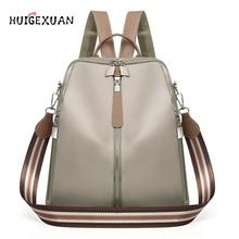 Купить с кэшбэком Women Double Zipper Backpacks Multifunction Oxford Cloth School Bag Backpacks For Girls Female Vintage Backpack Shoulder Bags A4