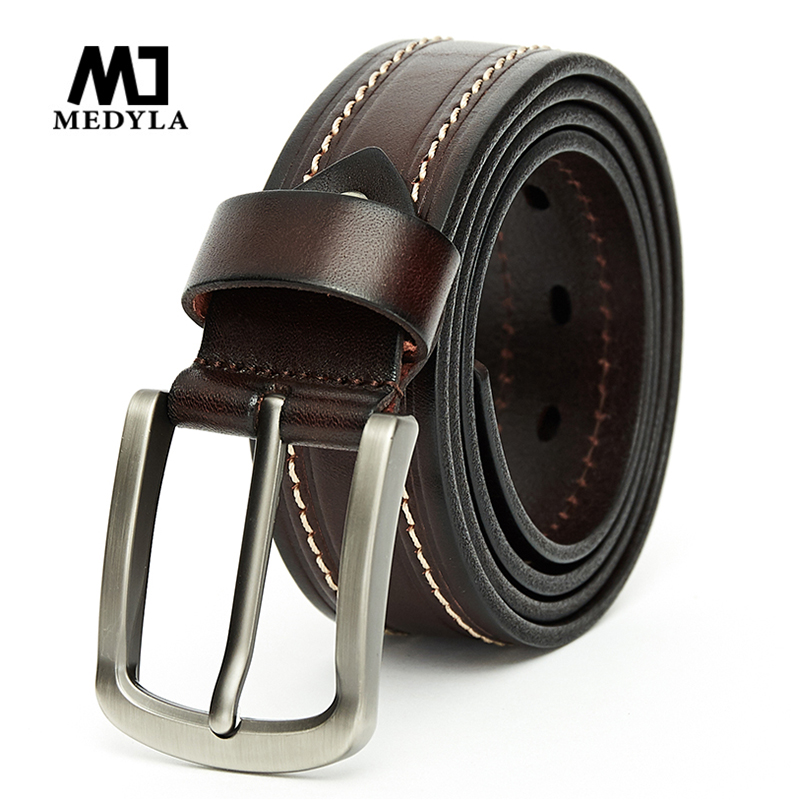 MEDYLA Fashion Belts For Men High Quality Natural Leather Casual Business Men's Belt Retro Suit Belt Metal Pin Buckle Dropship