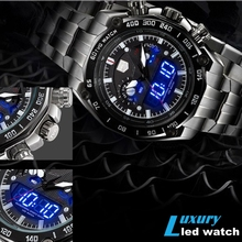 TVG New Luxury Fashion Multifunctional Steel Quartz Military Army Luminous LED Pointer Mens Sport Watch Waterproof Digital Watch