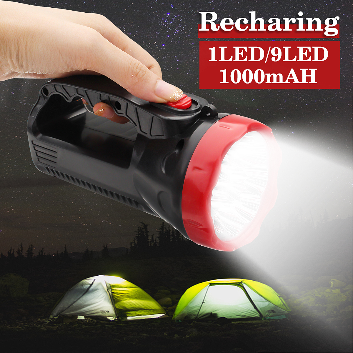 Super Bright Rechargeable 1 or 9 LED Lights Handheld Portable Flashlight Searchlight Lantern for Outdoor Camping TravelSuper Bright Rechargeable 1 or 9 LED Lights Handheld Portable Flashlight Searchlight Lantern for Outdoor Camping Travel