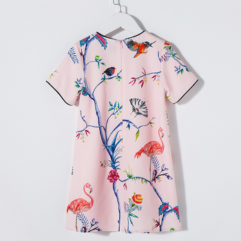 Beenira European American Style Dress 2019 Summer Children Crowned Crane Pattern Princess Dress 4-14Y Baby Girls Clothes Dress