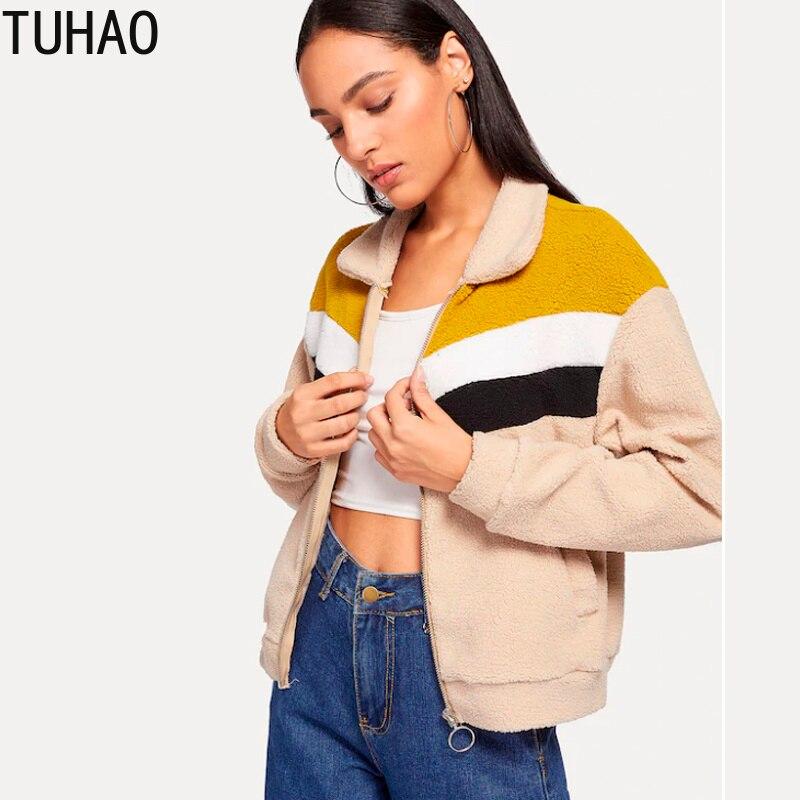 TUHAO Autumn 2018   Basic     Jackets   Female Women Velvet Lamb Hooded Coats Female Casual Winter   Jacket   Womens Outwear Coat HQ120