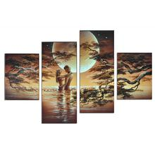 Hand-painted Wall Art The Lake Waterfall Lovers Home Decoration Abstract Landscape Oil painting on Canvas 4 Panels Unframed
