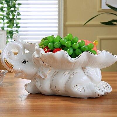 Роман керамики статуя слона фруктов Тарелка декоративная фарфор листьев лоток посуда орнамент подарка посуды и ремесла слон