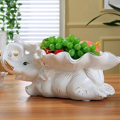 Romanzo di Ceramica Statua di Elefante Frutta Piatto di Porcellana Decorativi Foglia Vassoio Piatti e Posateria Ornamento Casalinghi Regalo e Mestiere Elefante