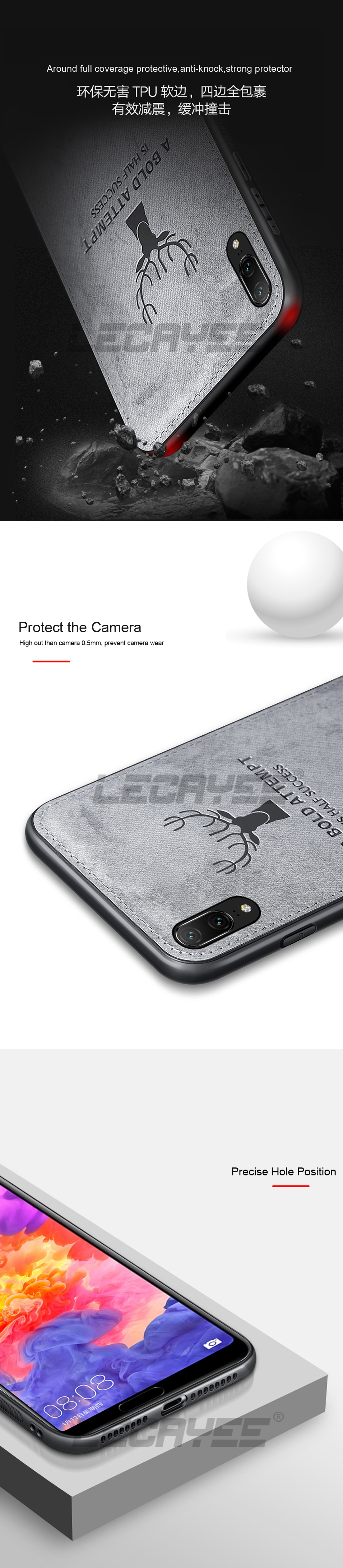 LECAYEE For Huawei P20 Lite Cloth Phone Protection Case for Huawei P20 Pro Nova 3 3i 3e 2s Soft Case Back Cover Shockproof (10)
