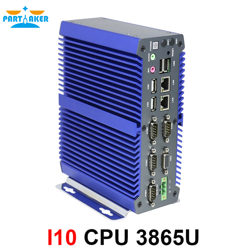 Partaker DDR4 Mini PC Industrial Computer Kabylake 3865U 2 Core 2 Intel Nic Windows 10 Computer With 4 COM Ports Support 3G/4G