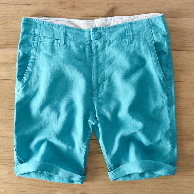 Brand Shorts Men Short Pants Men Fashion Casual Men Shorts Summer Pure Linen Short Men Loose Trousers Mens Bermuda