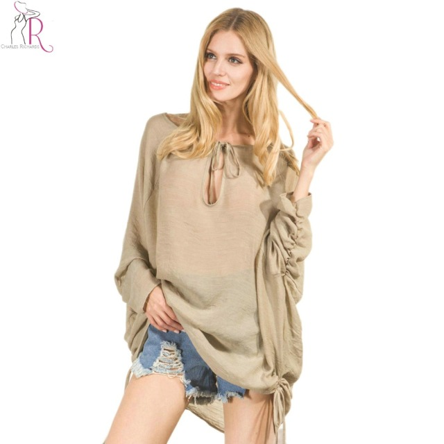 Women V Neck Tie Side Blouse 2 Colors Long Sleeve Brief Casual Ruched Loose Tops 2017 Spring Fashion Cut Out Longline Clothing