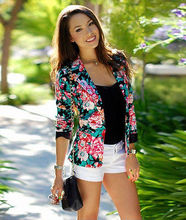 New Women's Fashion Floral Slim Casual Business Suit Jacket Coat Outwear