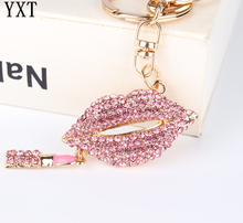 Pink Lip Lipstick Pendant Charm Rhinestone Crystal Purse Bag Keyring Key Chain Accessories Wedding Party Lover Friend Gift