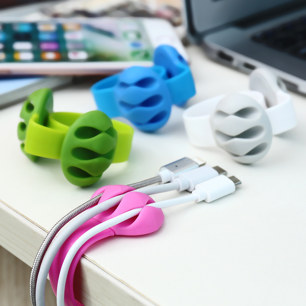 2-Pack Phone Cable Winder Earphone MP3 MP4 Cable Organizer Silicone Holder Clip
