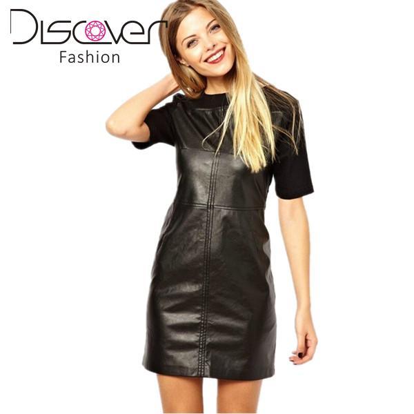 40ecc764a148 2015 Western Autumn Winter Dress Black PU Leather Knitted Patchwork Short  Sleeve Back Zip Slim Women Casual Work Pencil Dresses
