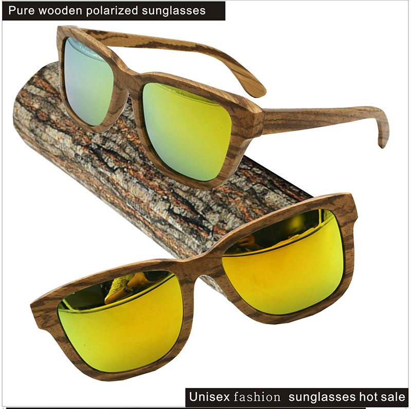 Customized wooden frame of the frame of the yellow light polarized lenses CNC production of square sunglasses