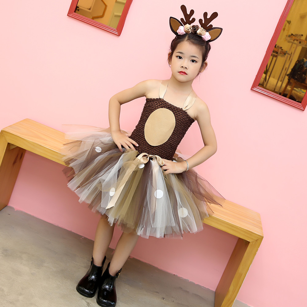 Girls Reindeer Dress Up Costumes Children O-neck Pattern Solid Dress Christmas Birthday Party Kids Dresses for Girls Ball Gown (19)