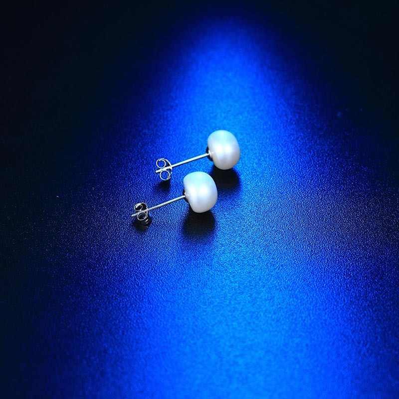 2019 gorąca promocja czarne naturalne perły słodkowodne kolczyki, Top Fine stadniny kolczyki, 8-9mm 100% kobiet biżuteria kolczyki 7-11mm
