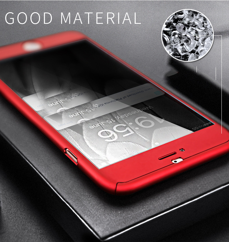 ipaky For iPhone XS MAX Case 360 Full Protective Hard PC Tempered Flim Case cover For iPhone X XR 8 7 6 6s 10 s plus coque cases