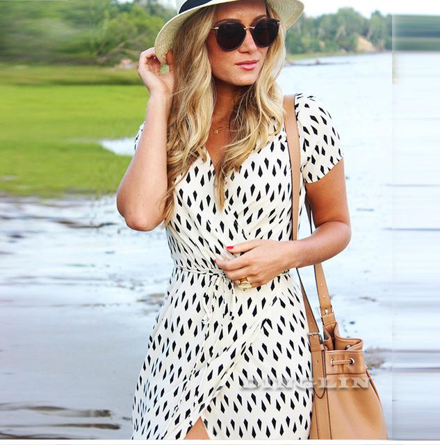 Beige Short Sleeve V Neck Polka Dot Chiffon Casual Beach Maxi Party Dress