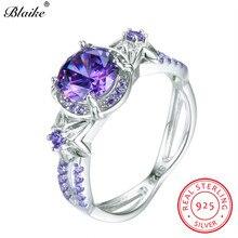 Blaike 100% Real 925 Sterling Silver Simulated Alexandrite June Birthstone Rings For Women Light Purple Zircon Star Flower Ring