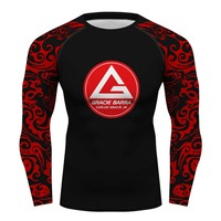 Custom Gracie Barra Carlos GR brazilian jiu jitsu compression shirt long sleeve Gym gi bjj rashguard tshirt GB men's T shirt