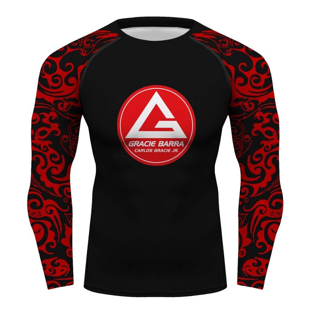 Carlos Gracie Barra GR personalizado camisa de manga longa de compressão Ginásio brazilian jiu jitsu gi bjj rashguard GB dos homens tshirt camisa de T