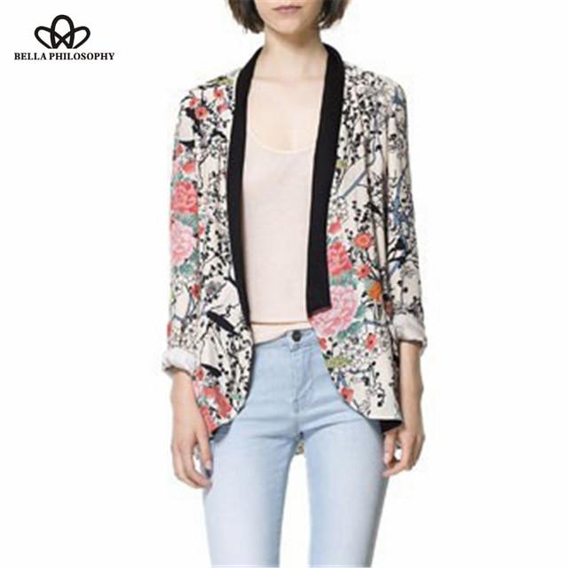 2016 весна осень оптовая ретро винтаж Восточные птицы цветы цветочный печати с длинным рукавом длинный блейзер куртка реальные фото